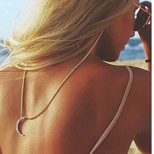 Yienate - Catene per occhiali con ciondolo a forma di luna con strass e ciondolo a forma di luna, per occhiali da sole e ragazze, colore: oro