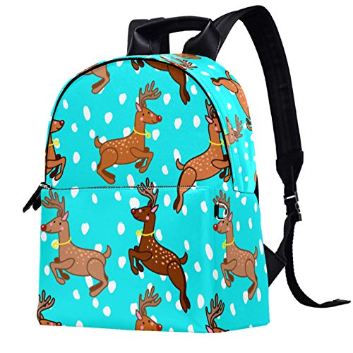 Travel,Hiking Backpack Laptop Backpack, Christmas Animal Deer and Snowflakes Print Casual Large Capacity School Bag for Men Women for Work Office College Business Travel