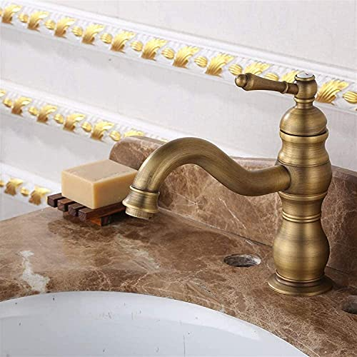 Grifo de agua de cobre, grifo antiguo, negro, antiguo, cepillado, grifo caliente, cocina, sobre encimera, grifo de lavabo, cobre, 24,5X15 cm