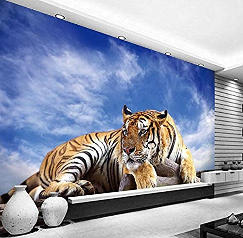 XHXI Photo Wall Paper 3D Stereoscopic Animal Tiger Wall Mural Backdrop Wallpaper Living Room Bedroom Home Decor 3D Wallpaper Living Room The Wall for Bedroom Mural border-250cm×170cm