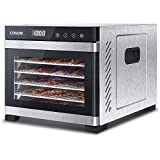 COSORI Food Dehydrator with 6 Stainless Steel Trays, 650W Dehydrator, 48H Timer, 35 to 75 ° C, Food Dehydrator with 3 Fruit Rolls, 3 Mesh Screens, 50 Recipes, BPA free