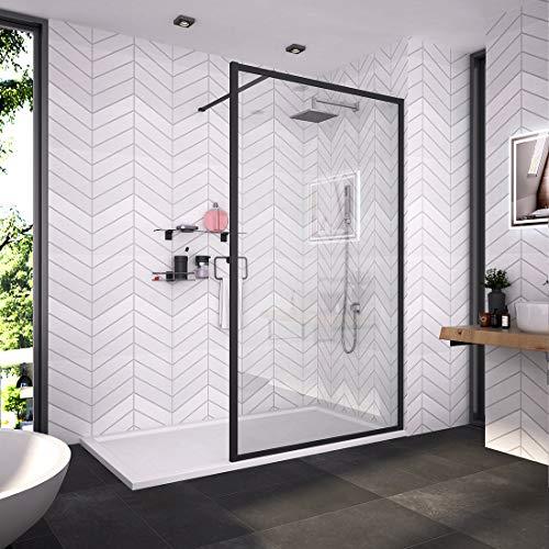 Bath-mann Duschwand Glas Duschabtrennung 120 x 200 cm Walk-in Dusche Duschkabine mit Stabilisator aus Echtglas 8mm ESG-Sicherheitsglas Klarglas Nanobeschichtung, Höhe: 200cm - Schwarzer Rahmen