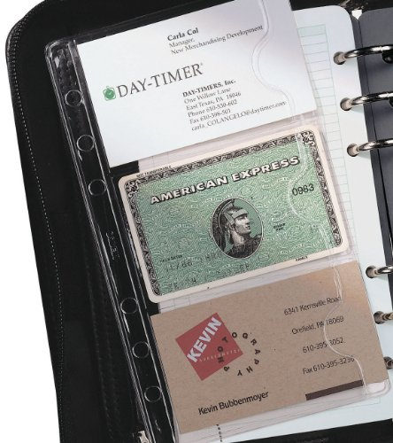 Day-Timer Business or Credit Card Holders, Portable Size, 3.75 x 6.75 Inches, 5 Sheets per Pack, Clear (D87125B)