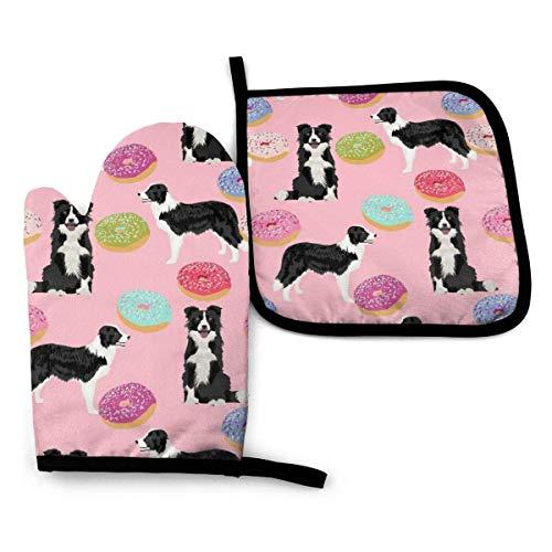 Border Collies - Manopla para horno y agarradera para ollas, diseño de rosas, color rosa