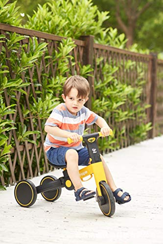 HQYXGS Coche de Equilibrio multifunción de Tres en uno para niños, Coche peatonal de multifunción sin Paralelo, Triciclo, Adecuado para bebé de 2 a 6 años, sin pie Doble resbalón de Rueda,Amarillo