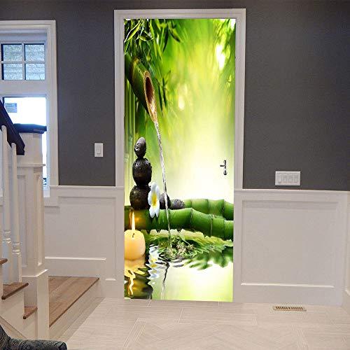 DIOPN creatieve 3D groene bamboe deur stickers voor woonkamer slaapkamer DIY PVC zelfklevend behang waterdichte muursticker (deur sticker 77 * 200 cm)