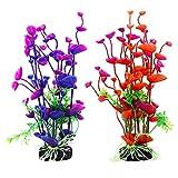 BSGP 2 plantas acuáticas artificiales, plantas grandes de plástico para decoración de acuario, rojo y morado