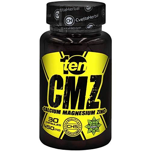Ten Nutrition | CMZ | 30 Capsules x 450 mg (1 Month Supply) | Calcium | Magnesium | Zinc | Immune System Support Supplement | Skin Maintenance | by Cvetita Herbal