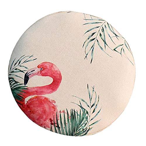 F Fityle Retro Landhaus Stuhlüberzug Hockerbezug Stuhlbezug Sitzkissen Bezug für Sitzhocker Hocker - Flamingo-40cm
