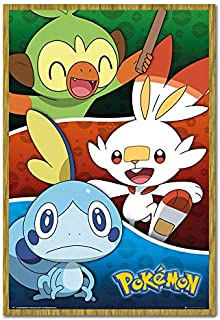 Pokemon Galar Starters Poster Oak Framed - 96.5 x 66 cms (Approx 38 x 26 inches)