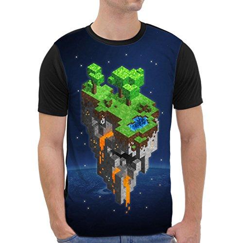 VOID Mine Tower T-Shirt Herren All-Over Druck Cube Block würfel Spiel Game, Größe:M