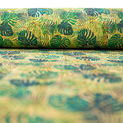 The Cork Collection - cork fabric - Cork Fabrics - Palm and Areca Palm leafs pattern Cork Fabric COF-244 - 10METER (1000*138cm/ 394*54 inches)