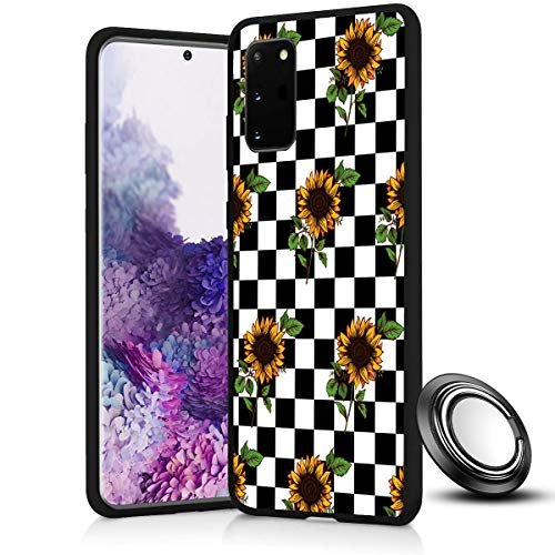 Galaxy S20 Case, Checkerboard Sunflower Slim Anti Scratch Shockproof Silicone Soft Rubber TPU Protective Case Cover with Phone Ring Holder Stand for Samsung Galaxy S20 5G 6.2 inch