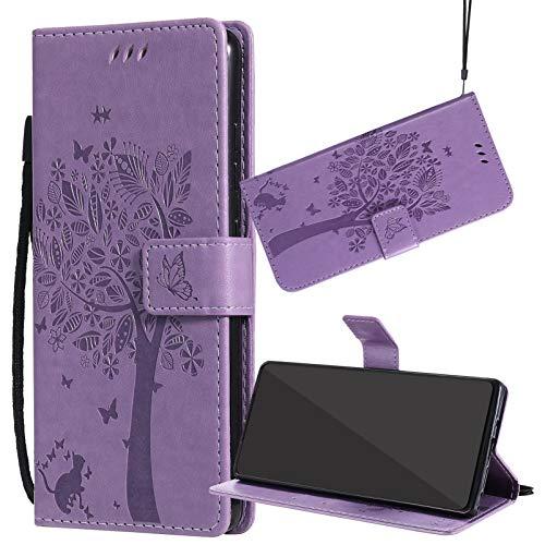 Yiizy Handyhüllen für ZTE Blade L110 (A110), Lederhülle Brieftasche Schutz Hülle TPU Silikon Innenschale Klapp Cover mit Media Kickstand und Kartensteckplätze Design (Helles Lila)