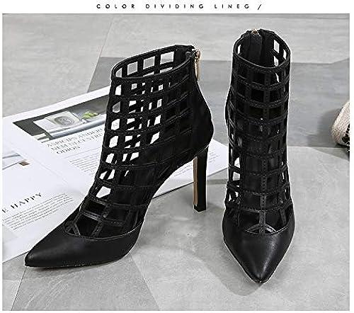 Shukun Sandales Blanc Mesh Talon Haut Femmes Printemps Show Show Pointu Stiletto Retour Zipper Mode Creux Chaussures Romaines Chaussures Simples