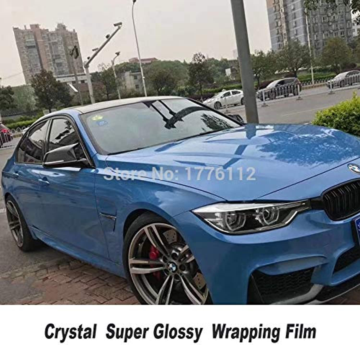 High Quality bluee Crystal Series bluee Glossy Vinyl Wraps Sticker with Air Bubble Free Wrapping Diamond Texture Glue(Size  1.52m X 5m)