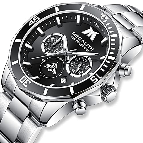 Relojes Hombre,MEGALITH Relojes Hombre Cronografo Diseñador Impermeable Relojes de Pulsera Acero Inoxidable Business Deportivo Elegante Analogico Reloj de Pulsera Luminosa Fecha