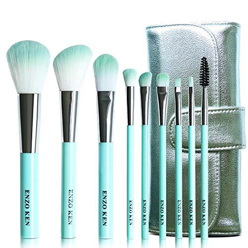 Ensemble De Pinceaux De Maquillage, Outils De Maquillage, Pinceau À Paupières Rouge Net, Pack Cyan, 9 Pinceaux Verts