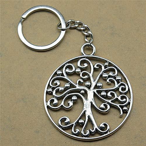 N/ A Schlüsselringe für Männer Baum Hochzeit Gefälligkeiten und Geschenke für Frauen 57X50Mm Anhänger versilbert
