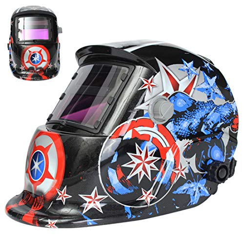 Welding Helmet Solar Powered Auto Darkening Hood with Adjustable Shade Range 4/9-13 for Mig Tig Arc Welder Mask…
