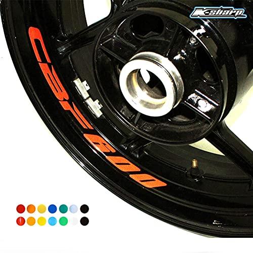 8 x Rayas de Motocicleta Rim Neumático Logotipo Pegatina Personalizada de Borde Interno Calcomanía Redonda Reducción Raya Calcomanía para Honda CBF600 CBF 600 (Color : Reflective Orange)