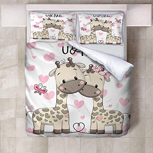 IXGMI 3D Digital Print Bedding,Cartoon Giraffe,Duvet Cover Set 3pcs Bedding Set with Zipper Closure, Ultra Soft Microfiber Quilt Cover Set 230x220cm