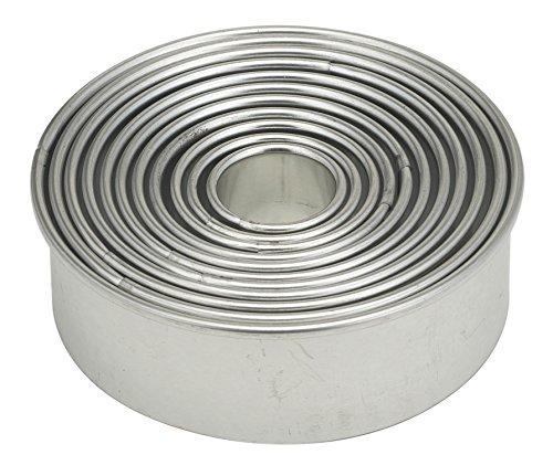 Moldes para hornear y cortadores de pasta de azúcar de la Mrs. Anderson, Juego de 11 piezas, redondo graduado, con almacenamiento de estaño, Round, Plateado,...