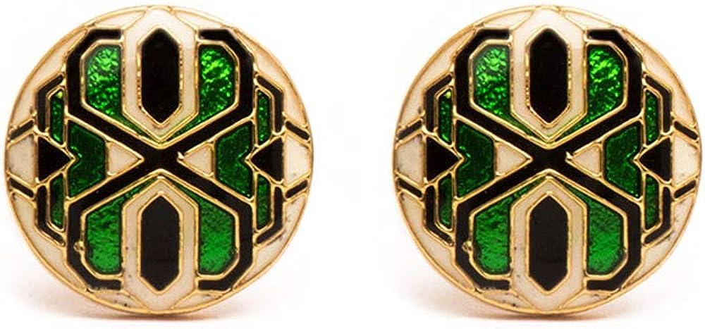Rosec Jewels Art Deco Green Rene Brass Golden Cufflinks, Personalized Enamelled 22k Gold Plated Wedding Cufflinks, Engraved Groom Anniversary Tie Clip Men Cufflink