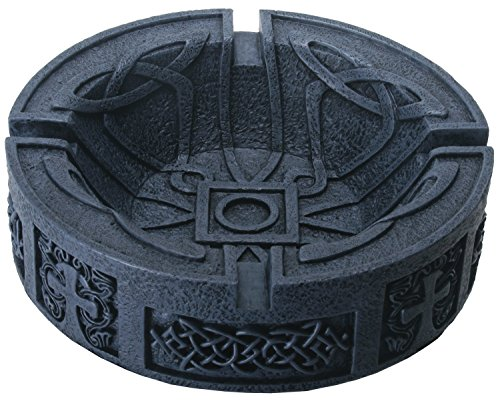 YTC 5.25 Inch Cigar Ashtray with Celtic Engravings, Grey Colored