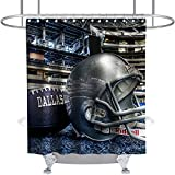 Custom Dallas Shower Curtain American Football Helmat Modern Athlete Stadium Theme Fabric Kids Bathroom Home Decor Sets with Hooks Waterproof Washable 72 x 72 inches Grey Black and White