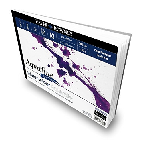 Daler Rowney - Aquafine Textured Watercolour Sketchbook - 300gsm - 12 Pages - A3 Landscape - Made in England