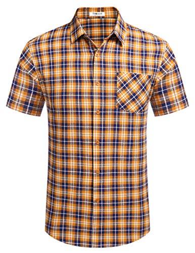 Tinkwell Hemd Herren Kariert Kurzarm Regular fit Freizeit Sommer Hemden Basic Männer Casual Shirt Bügelleicht(Gelb,L)