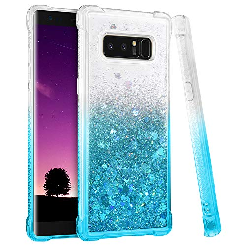 Ruky Galaxy Note 8 Case, Gradient Quicksand Series Glitter Flowing Liquid Floating Soft TPU Bumper Cushion Girls Women Phone Case for Samsung Galaxy Note 8 (Gradient Teal)