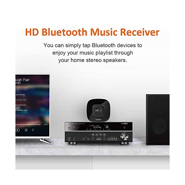 Bluetooth Receiver Wireless Audio Adapter 4.0(NFC-Enabled) for HD Music Stereo Sound System 4