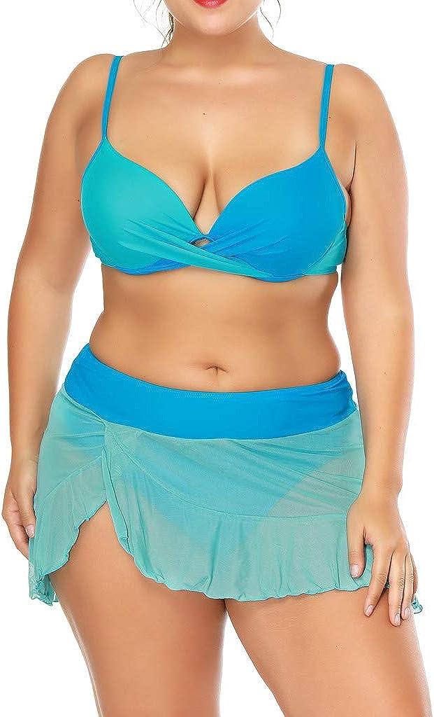 Plus Size 3 Piece Bathing Suits for Women Bikini Set Push Up Bikini Tops High Cut Bottoms Swim Skirts