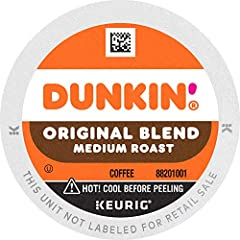 Contains 6 Boxes of 10 K-Cup Pods (60 Count Total) For use in all Keurig K-Cup Brewers Medium roast 100% Premium Arabica Coffee Original Blend is the coffee that made Dunkin' Donuts famous, featuring a rich, smooth taste unmatched by others. America ...