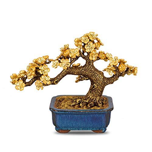 VBNHGF Sculptures Statues Feng Shui Blossom Tree Artificial Plant Bonsai Ornaments Fake Gold Pot Plants Ornaments Home Decor Crafts Gifts