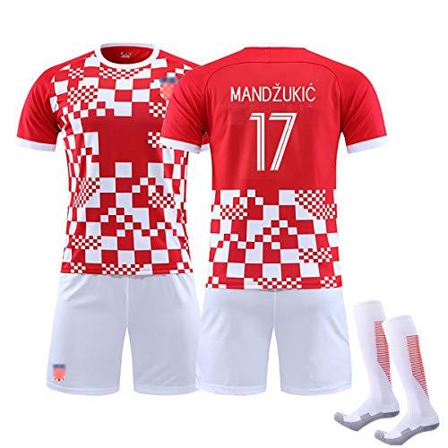 2020 Kinder Erwachsene Sommer Fußball Kroatien Trikot, RAKITIC 7 Modric10 MANDZUKIC 17 Fußballuniform, Trainingslager Set weicher Stoff, mit Socken, bestes Geschenk-NO17-28