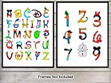 Disney Alphabet Numbers Wall Decoration Set- 8x10 Home Art Decor for Boys, Girls or Kids Room, Nursery,...