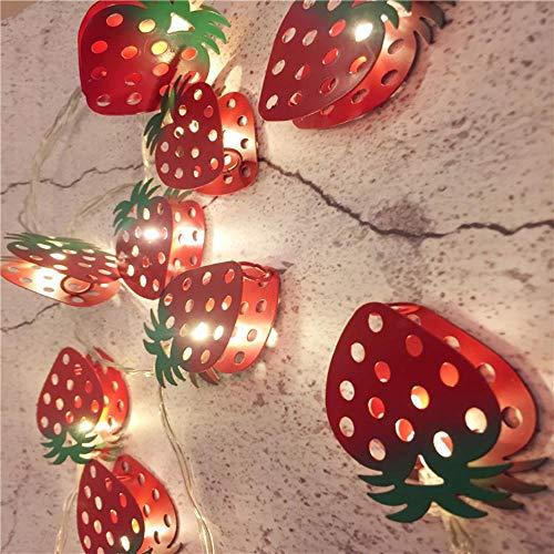 Juranting Led-lichtsnoer met kerstman, eland-alpaca, lantaarn, kerstdag, decoratieve verlichting, 20 lampjes, aardbeien, 300 cm