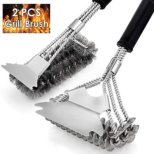 """HaSteeL Grill Brush 2 PCS, 17.5"""" & 16.5"""" Safe BBQ Grill Brush and Scraper, BBQ Accessories Cleaner with Wire Bristle Free Perfect for Gas Grill/Charbroil/Steel Cooking Grates, Grill Cleaning Gift Barbecue Brushes Grill Grilling Utensils"""