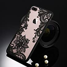 Wpc Sexy Retro Floral Phone Case for Apple IPhone X Lace Flower Hard PC+TPU Cases Back Cover Capa for Samsung Galaxy S6 S6 Edge S7 S7 Edge Prime Huawei P9 Pink iPhone 8 Plus