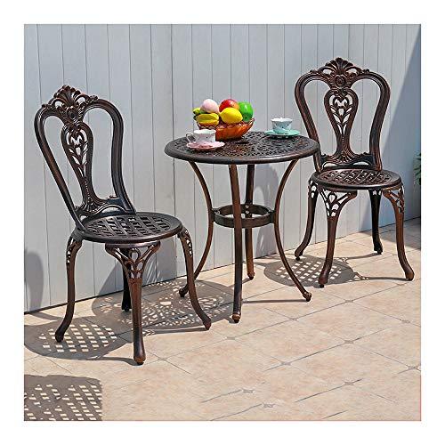 DYYD Juegos de Muebles de jardín Las mesas y sillas de Hierro, al Aire Libre Bistro Set Bistro Juego de Mesa, Patio al Aire Libre Conjunto de 3 Piezas de Mesa con Sillas
