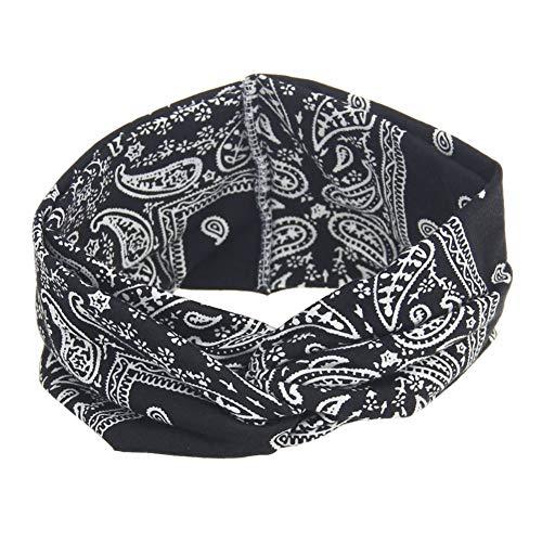 MSYOU Mini serre-tête élastique en tissu pour femme - Pour fitness, yoga, course à pied, sport, maquillage, nettoyage - Accessoire pour cheveux - 21 x 10 cm - Noir