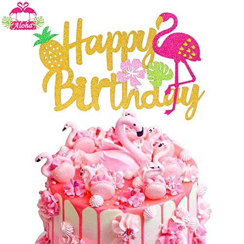 Flamingo Cake Topper Happy Birthday Sign Cake Pick Hawaiian Luau Tropical Pineapple Theme Kids Boys Girls Party Supplies Gold Glitter Decoration