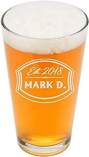 PersonalizedPint Glasses 16oz - Custom Engrave Pint Beer Glass - Groomsmen Beer Glasses