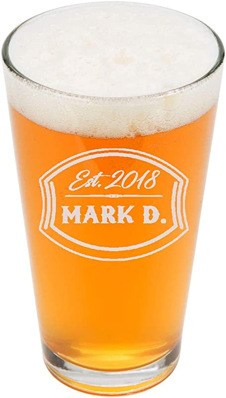 Personalized Pint Glasses 16oz Custom Engrave Pint Beer Glass Groomsmen Beer Glasses