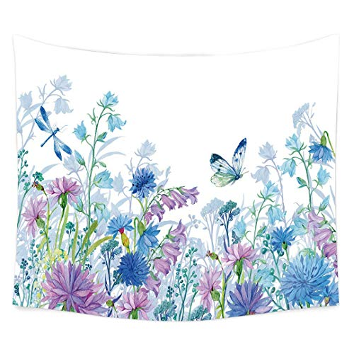 QCWN Watercolor Flower Floral Tapestry,Indian Bohemian Nature Wild Flower Plants Butterflies Wall Hanging Tapestry for Bedroom Living Room Dorm.59x51Inch