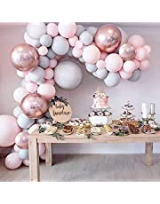 Balloon Garland Kit, Grey Pink Latex Party Balloon & 4D Rose Gold Foil Balloons, 109PCS (53pcs Double-Stuffed Pastel Balloons Included) for Wedding Baby Shower Birthday (Balloon Tools Included)