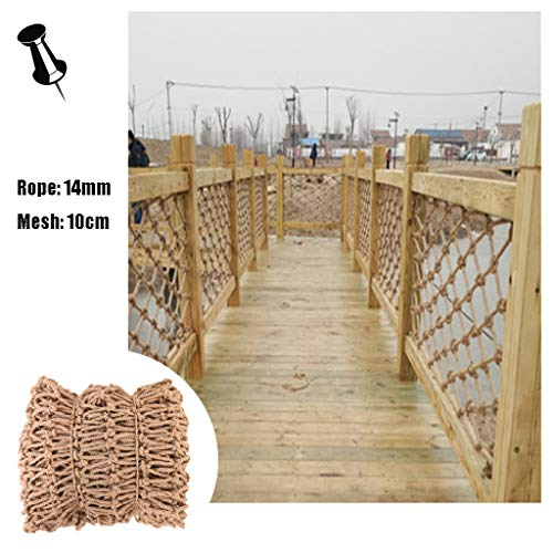 Climbing Net For Kids Safety Net For Stair Railing,trellis Netting For Climbing Plants,Natural Jute Material Hand-woven,for Outdoor Playground,14mm/10cm,Multiple Sizes (Size : 2x5m)